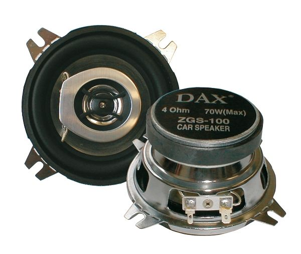 Reproduktor do auta ZGS-100, 4 Ohm, 2-pásmové, Příkon 70W , Rozměry 100 x 100 / 47 mm, s polyamidovou membránou na gumovém závěsu, Neodymový výškový reproduktor, Chromovaný ocelový koš