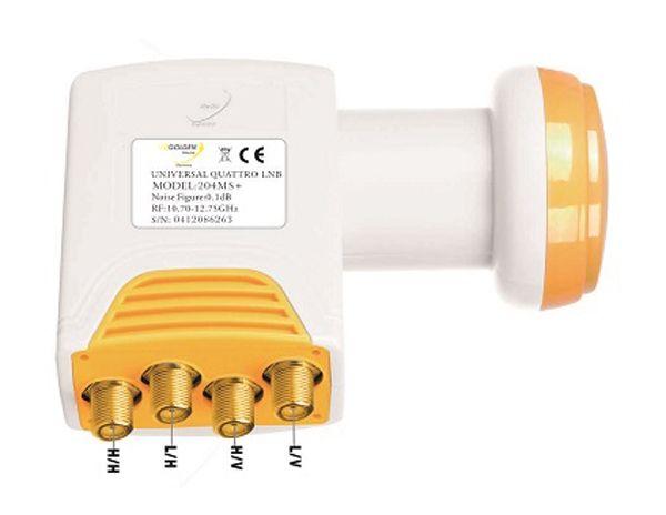 Satelitní konvertor Golden Media GI204 MS+ 0.1dB quatro, pro připojení k multi-switch, 1 družice