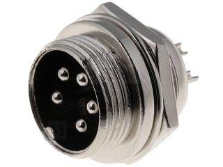 XLR 5VP-ŠR Mikrofonní vidlice na panel 5-piny šroubovací aretace