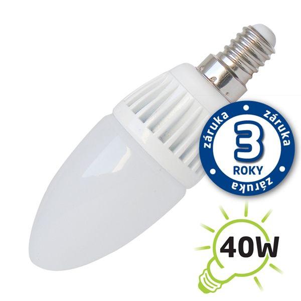 LED žárovka svíčka E14/230V (DVZLED) 5W - bílá přírodní 4000-4500K, náhrada ekvivalent žárovky klasické 40W