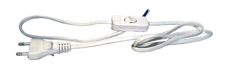Flexošňůra s vypínačem bílá 2 x 0,75mm2, délka 3m, napájecí, přívodní kabel