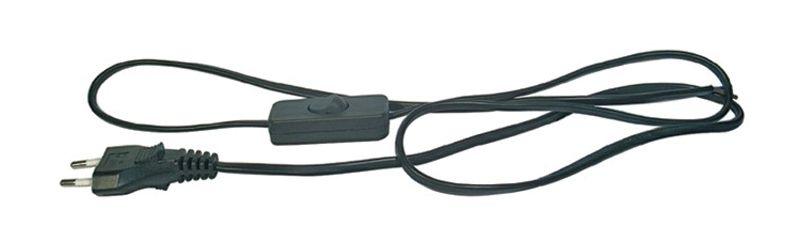 Flexošňůra s vypínačem černá 2 x 0,75mm2, 2m, napájecí, přívodní kabel