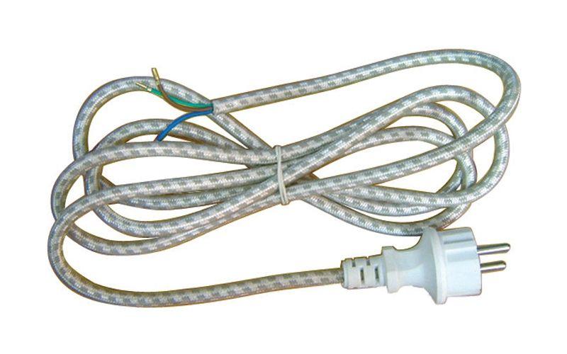Flexošňůra, šňůra 230V 3x0,75mm2, délka 2,4m k žehličce - opředená, volný konec, napájecí, přívodní kabel