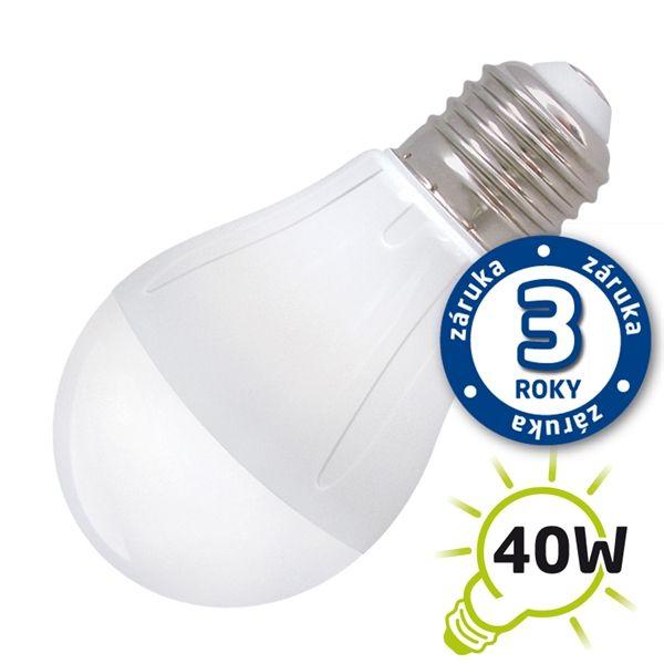 LED žárovka A55, E27/230V, 5W - teplá bílá 2900-3200K, (DVZLED) Teplá bílá, malá baňka, odpovídá tradiční 40W žárovce
