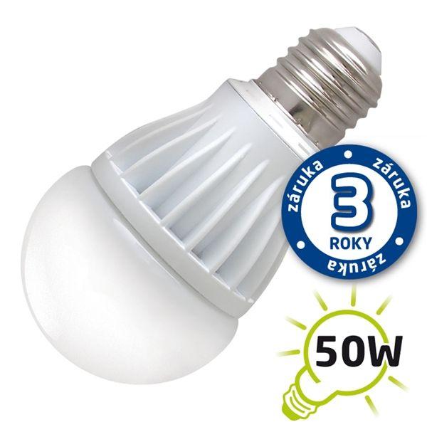 LED žárovka A60, E27/230V, 7W - bílá teplá, (DVZLED) 2900-3200K, odpovídá tradiční 50W žárovce