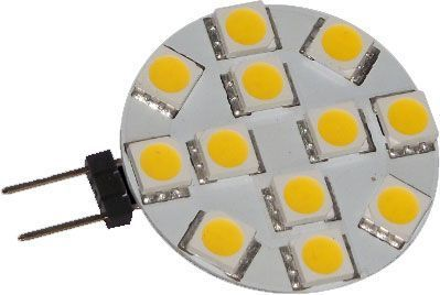 LED žárovka G4 12xSMD5050 bílá teplá, 2700–3500K, napájení 12V/2,5W, do bodovek, kuchyňkého bodového osvětlení, náhrada za halogen
