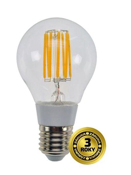 LED žárovka retro, klasický tvar, 8W, E27, 3000K, 360°, 750lm, skleněná, filamentové vlákno