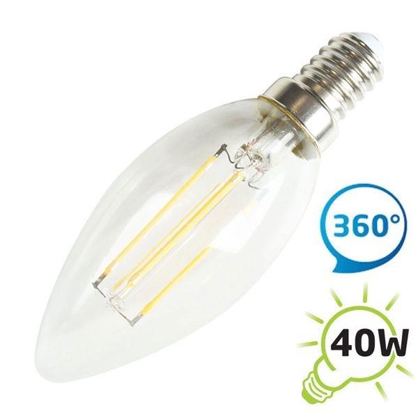 LED žárovka svíčka retro C37 E14/230V 4W - filamentové vlákno - Teplá bílá 2900-3200K, odpovídá tradiční 40 W žárovce