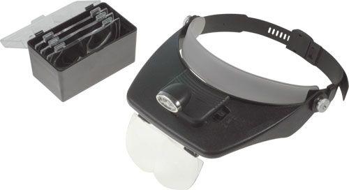 Lupa na čelo dvouokulárová s 2xLED osvětlením, čelovka VT35 náhlavní lupa s odnímatelným se světelným zdrojem a boxem na dvě baterie AAA, vyměnitelné čočky, nastavitelné zvětšení