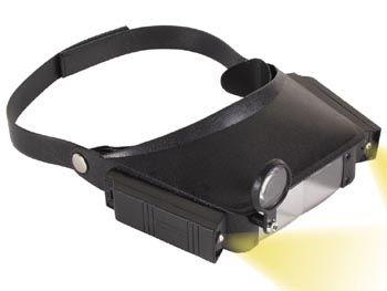 Lupa na čelo s 2xžárovka osvětlením, čelovka VT6 náhlavní lupa s odnímatelným se světelným zdrojem a boxem na čtyři baterie AAA
