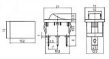 Přepínač vypinač kolébkový ON-OFF 250V/3A, 2polohy 3piny LED žlutá, Rozměry