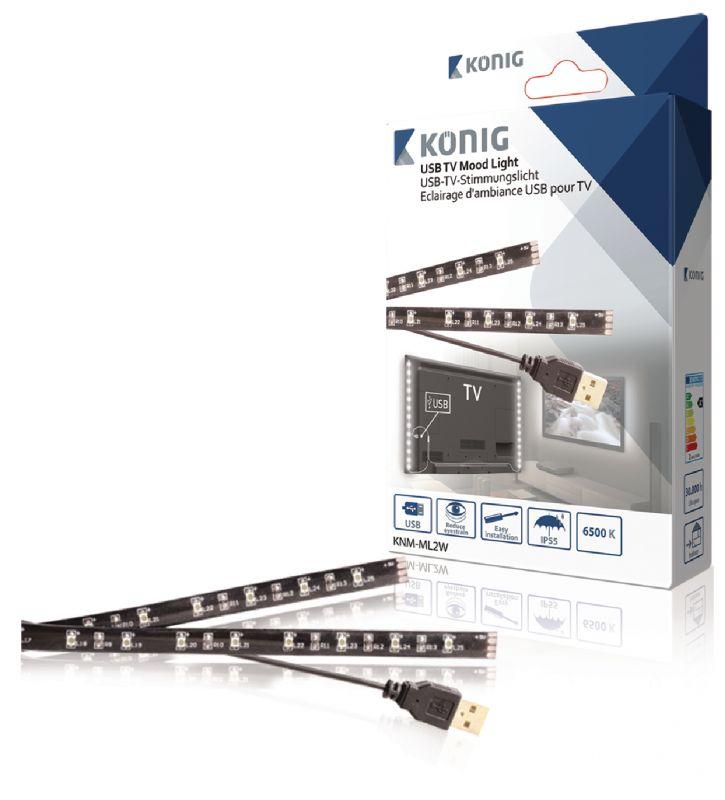 USB TV náladové osvětlení, 2 ks LED pásky, 50 cm, studená bílá, napájení 5V, za TV