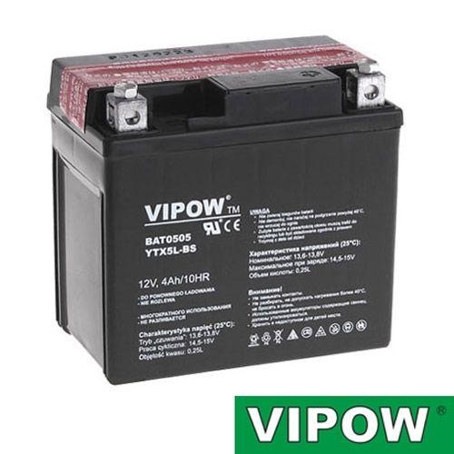 Baterie motocyklová 12V 4Ah Vipow motobaterie nabíjecí bezůdržbový akumulátor