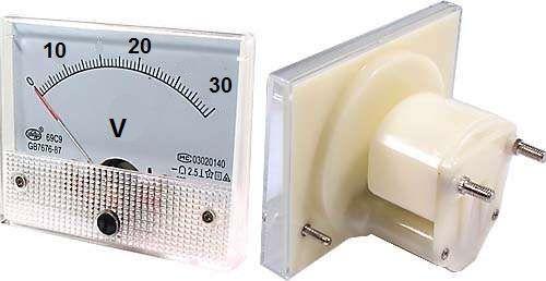 Panelové analogové (ručičkové) měřidlo-voltmetr DH80M 30Vss(DC) napětí rozměr 80 x 65mm