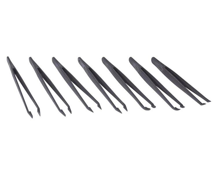 Pinzety sada set 7ks pro SMD, pinzeta PVC plastové provedení antistatické, antimagnetické, provedení velmi špičaté, rovné-kulaté-široké, jemně ohnuté