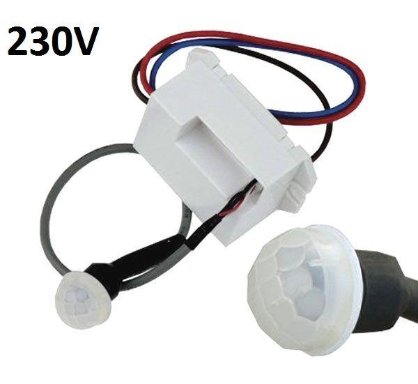 Pohybové čidlo senzor infra detektor PIR 230V/180° Spínaná zátěž max. 800 W (indukční zátěž 150 W) - modul, dosah až 6m, doba svícení 5s až 8 minut.