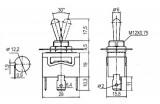 Přepínač páčkový 3pol./3pin faston spínač ON-OFF-(ON) C3921E IP67, s aretací ve střední a jedné krajní poloze 10A/250VAC, 1x přepínací kontakt