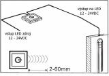 Bezdotykový infra spínač-ovladač IRD1 skříňový difuzní, k zapnutí a vypnutí, na napětí 12-24VDC / max.5A  pro LED