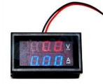 Panelové měřidlo LED Ampérmetr / voltmetr panelový 10A / 100V DC