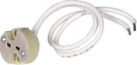 Objímka GX5,3 MR16 patice žárovka, keramická, přívod délka 15cm se silikonovou bužírkou, (50mm)