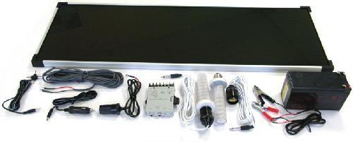 Osvětlení LED - Solární solární osvětlovací systém TPS 205/15W, 2 x LED žárovka 2W/12V DC s přívodním vodičem s objímkou, 15W amorfní FV panel - regulátor napájení s výstupní zásuvkou 3V, 6V a 2 x 12V