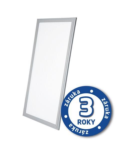 LED světelný panel 40W, 30x60cm, 2900lm, 4000K, denní bílá, stříbrný rám, obdélník, pro instalaci do stropu pomocí ocelových lanek nebo kazetového stropu
