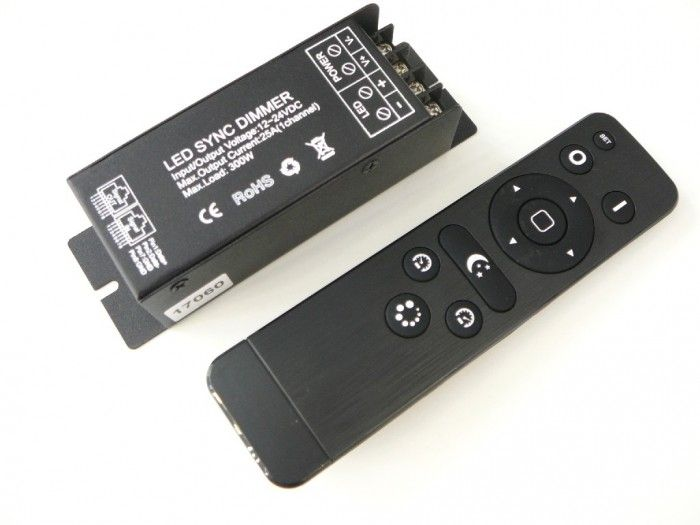 LED ovladač-stmívač LUXURY RF25A+ dálkové RF ovládání 1 kanál 12-24VDC/max.25A