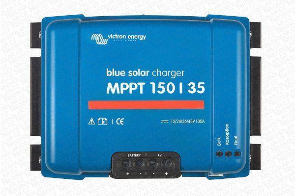 Solární regulátor MPPT Victron Energy 150/35 12/24/48V/35A, s napětím panelů až 150 V, maximální nabíjecí proud 35 A. Baterie 12/24/48V, FV max 500/1000/2000Wp