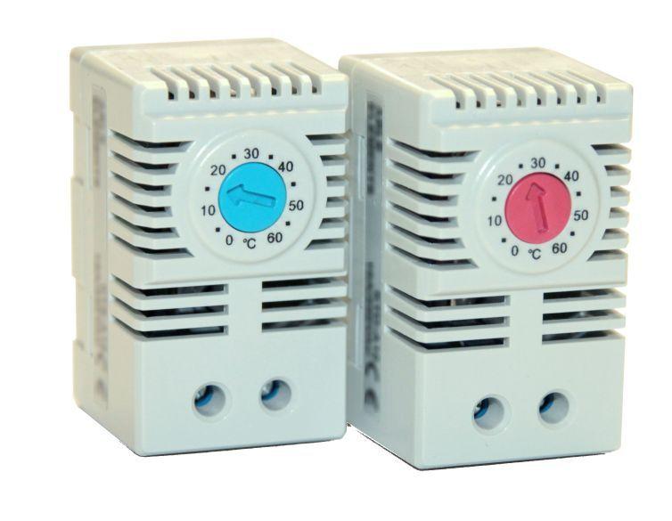 TERMOSTAT 0 až +60°C/10A rozpínací, sepne při nastavené teplotě 0...+60°C, max. proud: 10A, pro montáž na DIN lištu