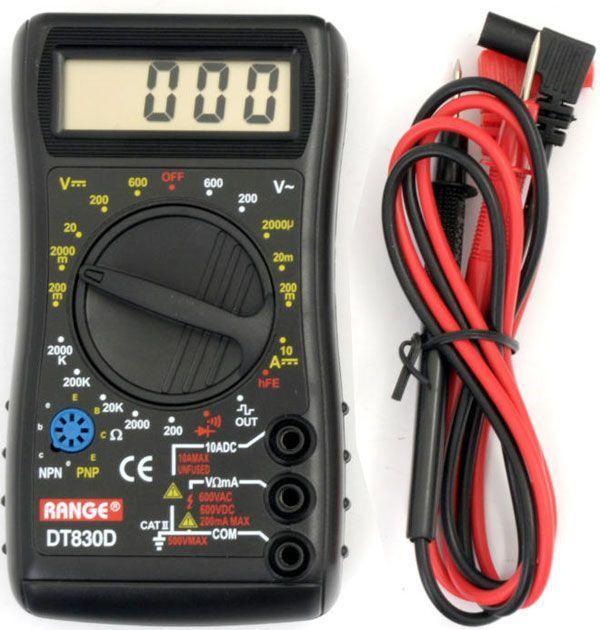 Digitální multimetr DT830D RANGE s prozváněčkou, měří napění, proud, odpor, akustický test, test tranzistorů a diod, napájení 9V