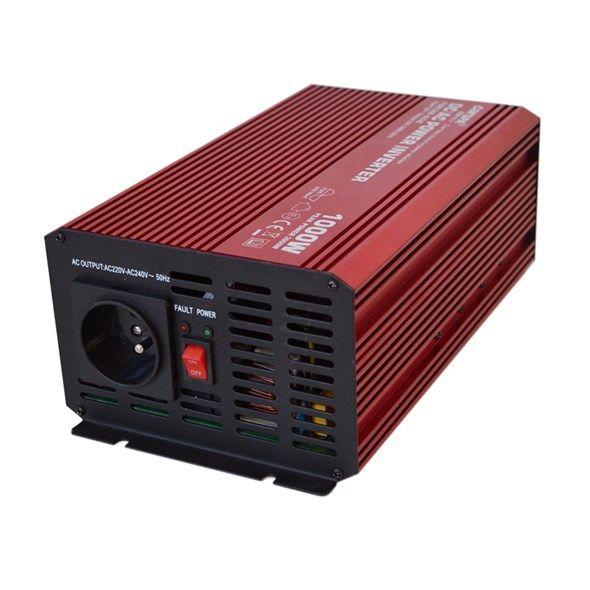 Měnič napětí DC/AC 12V/230V AC, 1000W, čistá sinusovka CARSPA P1000