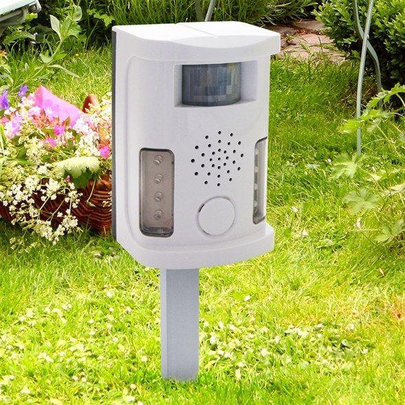 Odpuzovač psů, koček, ptáků a hlodavců multifunkční, s ultravysokými tóny, napájení 9V baterie nebo 9V adaptér