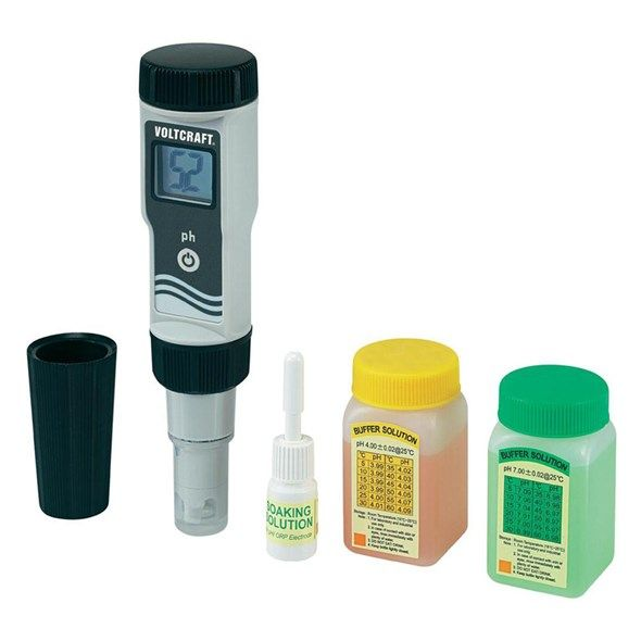 pH metr digitální kapesní Voltcraft PHT-02 ATC, 0 - 14 pH, elektronický, měřič kyselosti vody, kalibrace jedno a dvoubodová
