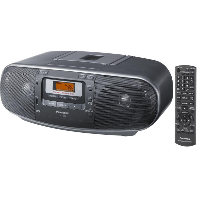 Radiomagnetofon Panasonic RX D55EG-K stříbrná, s CD/MP3 +D.O. + kazetová mechanika