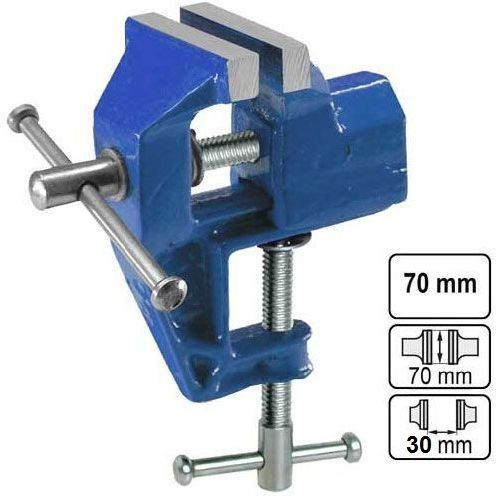 Svěrák kovový pevný 70 mm, uchycení svorkou ke stolu