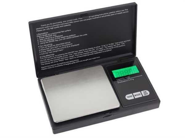 Váha kapesní digitální MP200x0,01g modré podstvícení displeje, přesnost, tolerance, setina gramu