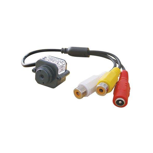 Kamera JK007 mini CMOS BW Monochromatická černobílá + zdroj, připojení CINCH, napájení 6V až 12V