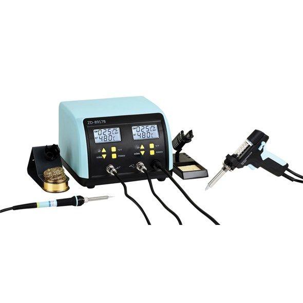 Odpájecí pájecí stanice s odsávačkou ZD-8917B dvojitá, s pájecím perem a odsávačkou - regulací teploty, řízení mikroprocesorem, přesná teplota