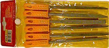 Sada 6 kusů pilníků, jehlové pilníky, 160 x 3mm, plastová rukojeť