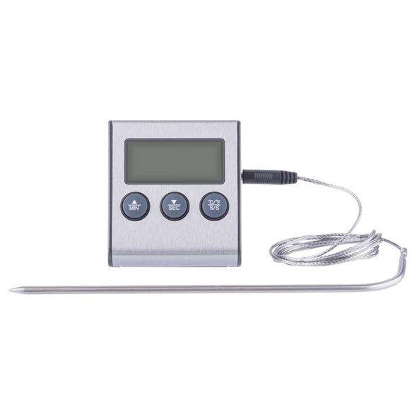 Digitální teploměr s vpichovací sondou čidlema, minutkaE2157, od -20 °C až do +250 °C, Drátová nerezová sonda o délce 1,25 m, s alarmem při dosažení teploty, napájení baterie 1xAAA