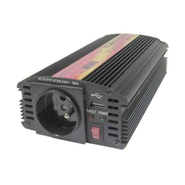 Měnič napětí DC/AC 24V/230V stř. 500W CZ CARSPA, připojení svorkami, do kamionu, solar