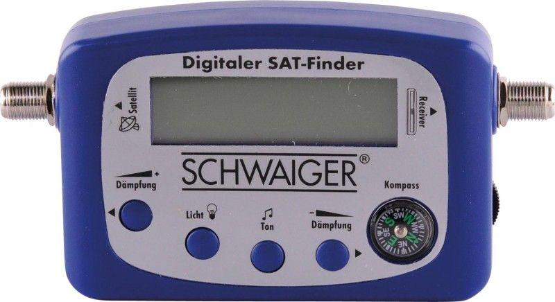 SATELITNÍ měřák tester měřící přístroj Schwaiger SF 80 digitalní, LCD display, analogového i digitálního satelitního signálu s kompasem, F konektory