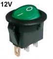 Vypínač kolébkový kulatý pros. 2pol./3pin ON-OFF 16A/12VDC zelený