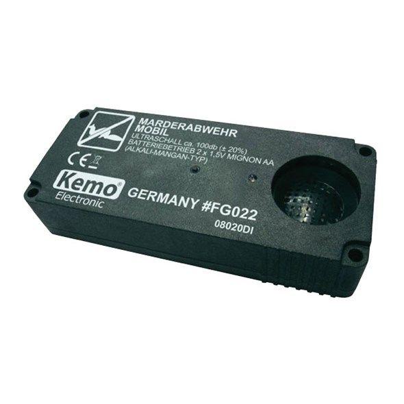 Odpuzovač hlodavců KEMO ultrazvukový, mobilní ochrana proti kunám Kemo , účinnost až 55m2, napájení 3 V/DC (2 baterie AA, nejsou součástí dodávky), Německá výroba
