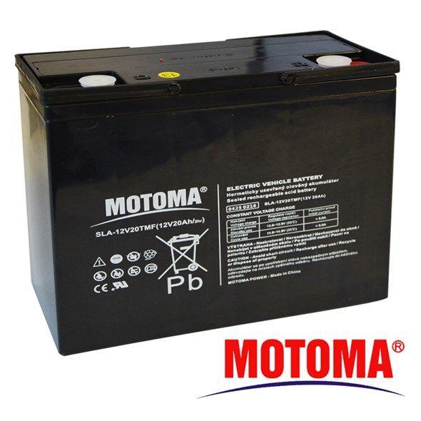 Baterie olověná Trakční 12V/20Ah - MOTOMA nabíjecí bezůdržbový trakční akumulátor, do solárních a větrných energetických systémů
