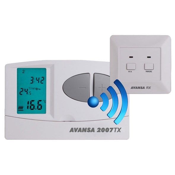 Digitální programovatelný bezdrátový termostat AVANSA 2007 TX , Modré EL podsvícení displeje, Nastavení komfortní a úsporné teploty, Ochrana proti zamrznutí, pokojový
