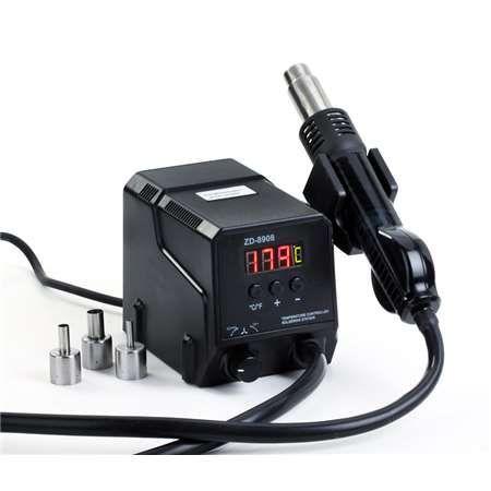 Horkovzdušná stanice ZD-8908 s horkovzdušnou pistolí, Teplota +100 °C  +500 °C , 300W, LED display, Senzor: zvednutí z držáku - přístroj se zapne
