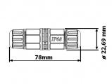 Kabelová spojka I rovná krytí IP68, 500V, 25A, vodotěsná, černá