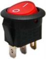 Vypínač kolébkový kulatý pros. 2pol./3pin ON-OFF 250V/6A červený