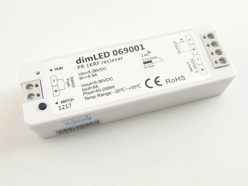 LED ovladač-stmívač dimLED PR 1KRF přijímač 5-36V, 1x8A(96W) k dálkovým ovladačům dimLED